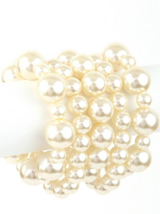 Cream Pearl Beaded 5 Layer Stretch Bracelets ( 0109 CRM )