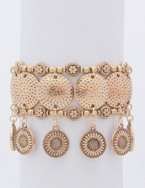 Antique Gold Dangling Charms Stretch Bracelet