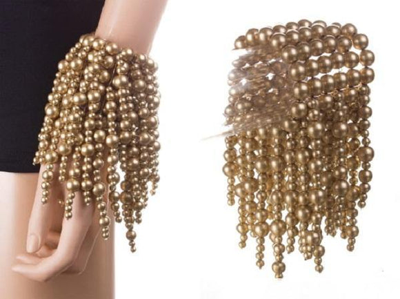 Multi Layered Coppery Gold Pearl Fringe Stretch Statement Bracelet ( 0454 GD )