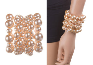 CREAM COLOR PEARL STRETCH BRACELET ( 0468 )