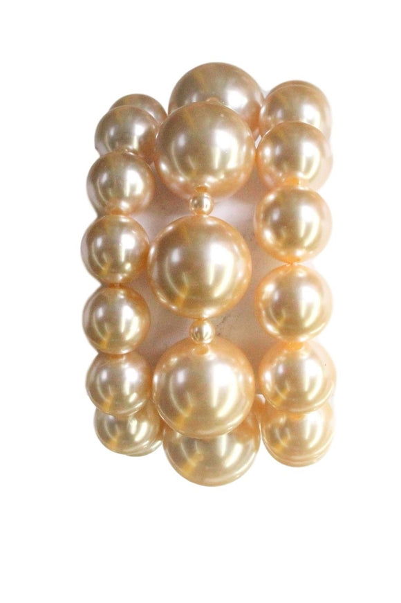 3 LAYER LARGE CREAM PEARL STRETCH BRACELET ( 0497 )