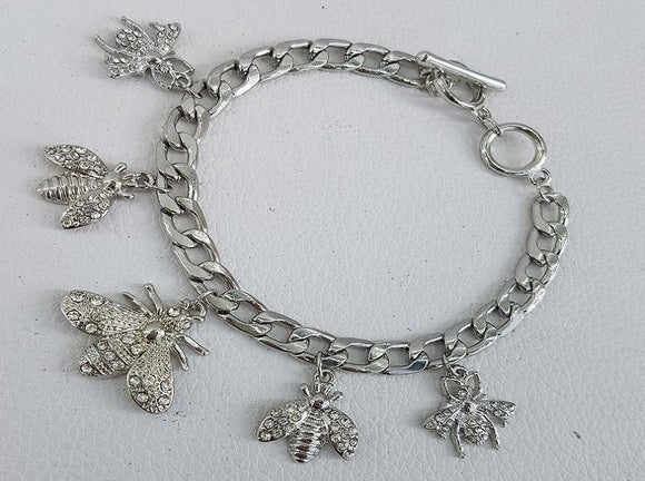 SILVER BEE CHARM BRACELET TOGGLE ( 1044 )