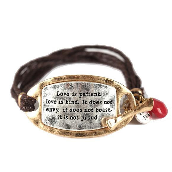 BROWN GOLD SILVER BRACELET 1 CORINTHIANS 13:4 DANGLING CHARMS ( 1263 )