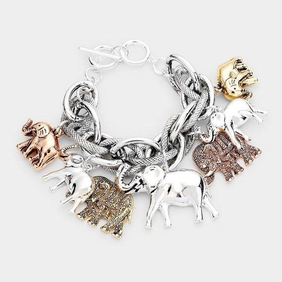 Chunky SILVER AND Gold Elephant Charm Double Linked Toggle Bracelet ( 8410 3T )