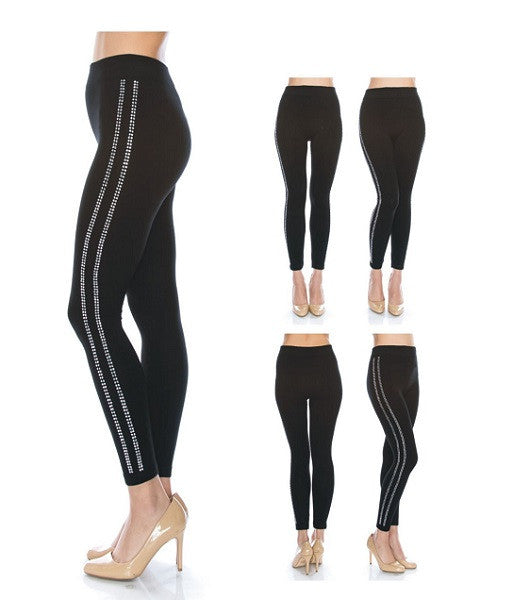 Black 2 Line Bling Leggings  REG