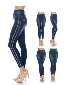 ONE Size Dark Blue Jean 2 Line Bling Leggings