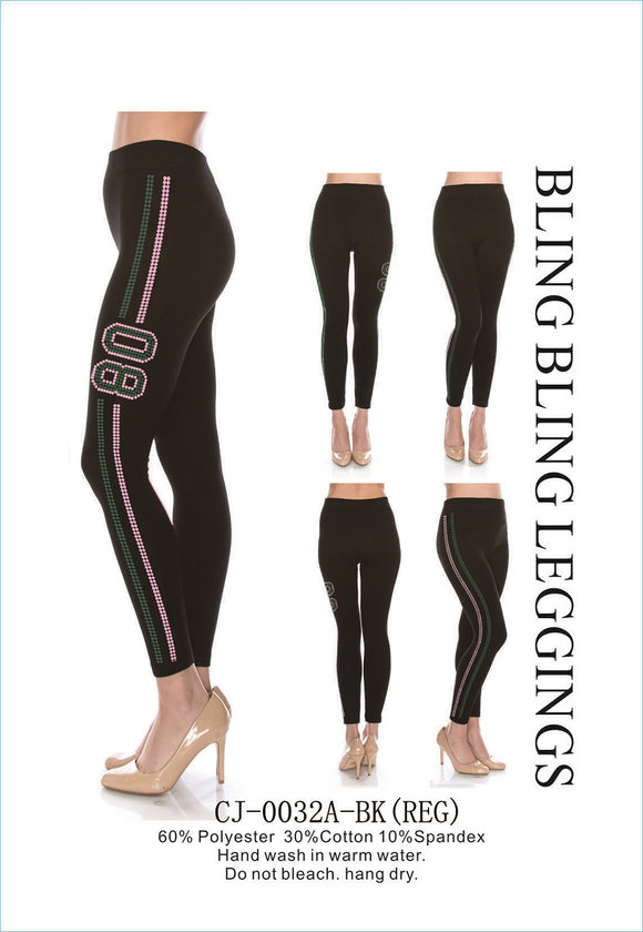 BLACK PINK AND GREEN 08 BLING BLING LEGGINGS REG SIZE ( 0032 )