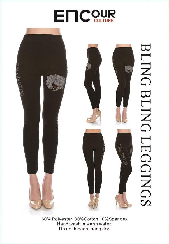 BLACK BLING BLING LEGGINGS SOUL SISTER CAMEO PLUS ( 0037 )