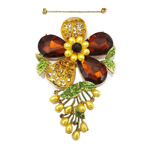 GOLD FLOWER BROOCH WITH BROWN RHINESTONES ( 01 )