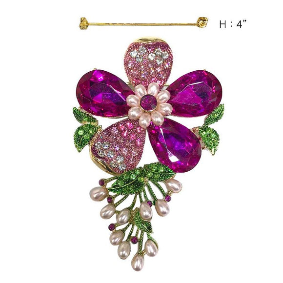 Pink and Green Rhinestone and Pink Pearl Flower Brooch
