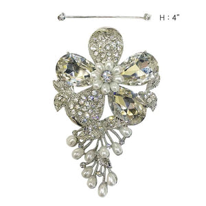 Silver Clear Rhinestone and White Pearl Flower Brooch