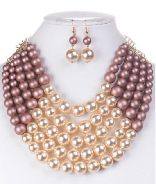 Matte Pink and Cream 5 Layered Pearl Necklace with Matching Dangling Earrings ( 0175 MPK )