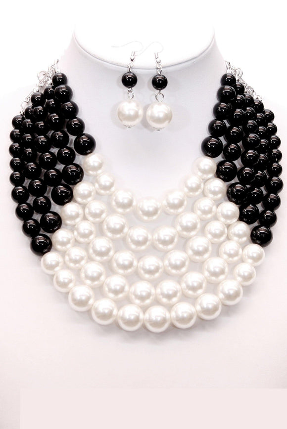 5 LAYER BLACK WHITE PEARL BEADED NECKLACE SET ( 0175 WHTBK )