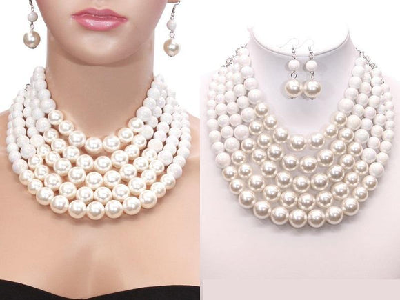 WHITE AB 5 Layered Pearl Necklace with Matching Dangling Earrings ( 0175 WHT WTAB )