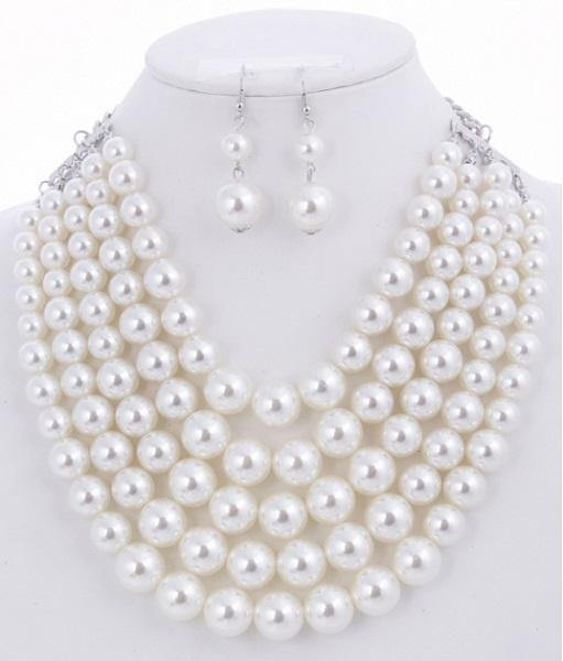 White 5 Layered Pearl Necklace with Matching Dangling Earrings ( 0175 WHT )