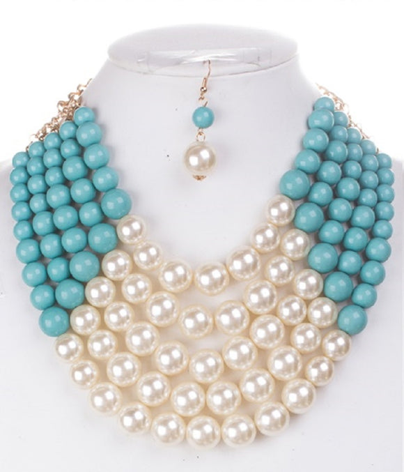 TURQUOISE Cream 5 Layered Pearl Necklace with Matching Dangling Earrings ( 0175 )