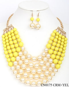 Yellow and Cream 5 Layered Pearl Necklace with Matching Dangling Earrings