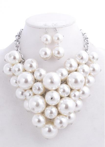 Chunky White Pearl Statement Necklace Set ( 0223 RHWHT )