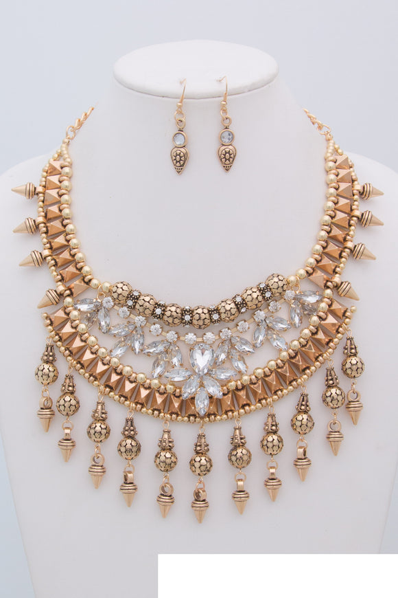 ANTIQUE GOLD NECKLACE SET CLEAR STONES SPIKES ( 0593 )