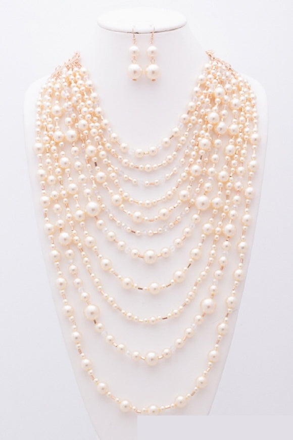 GOLD AND CREAM PEARL NECKLACE SET ( 0914 )