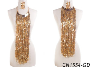 Gold Sequins Fringe Necklace