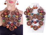 CHUNKY MULTI COLOR WOODEN NECKLACE SET ( 2021 )