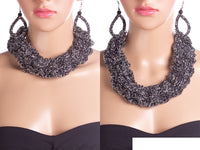 BLACK AND SILVER WEAVE CHAIN CHUNKY NECKLACE SET ( 2058 )