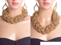 GOLD WEAVE CHAIN CHUNKY NECKLACE SET ( 2058 )