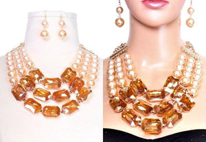 3 Layer CREAM Pearl and TOPAZ Rectangle Fashion Statement Necklace Set ( 2159 )