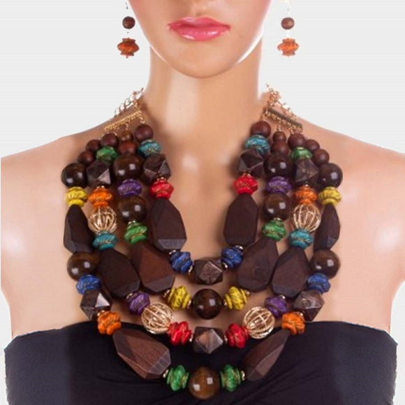CHUNKY MULTI COLOR WOOD NECKLACE SET ( 3324 )