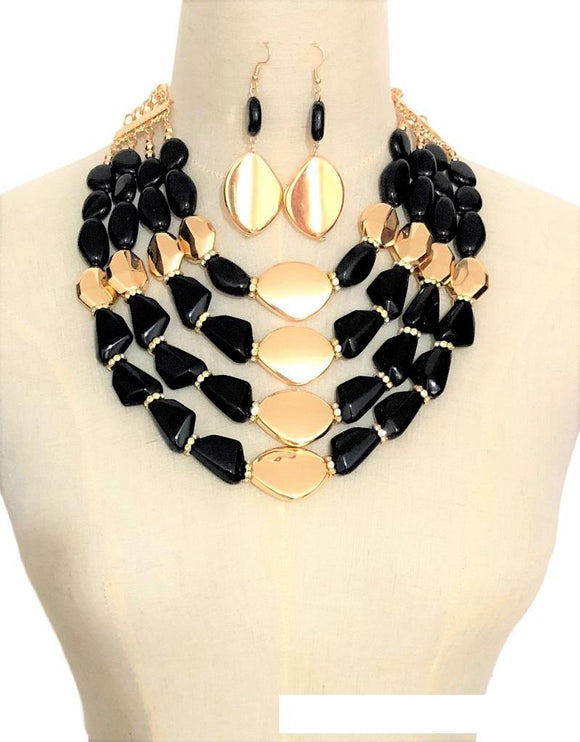 GOLD BLACK STONE NECKLACE SET CLEAR STONES ( 3351 GPBK )