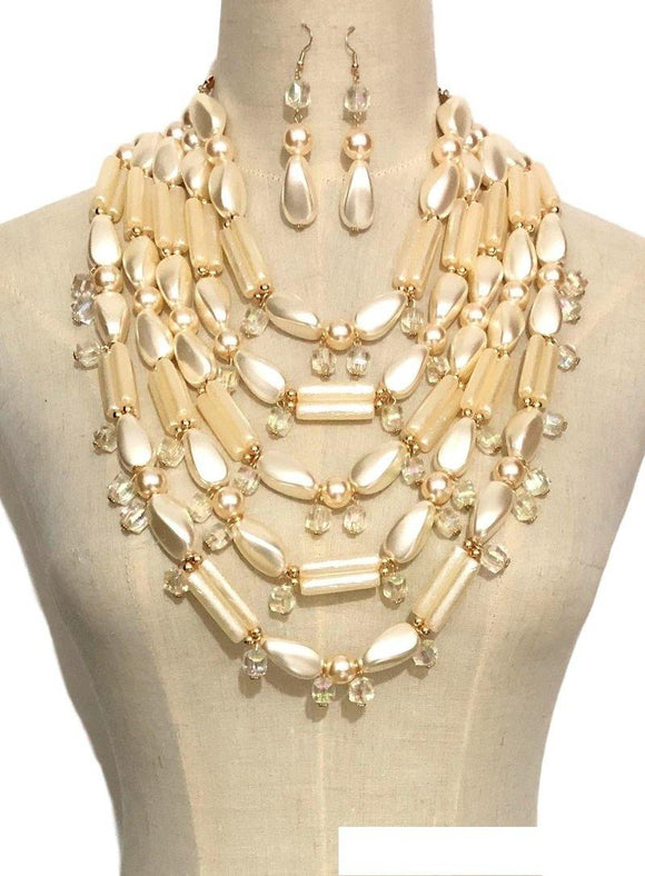 GOLD CREAM PEARL NECKLACE SET AB STONES ( 3354 CRM )