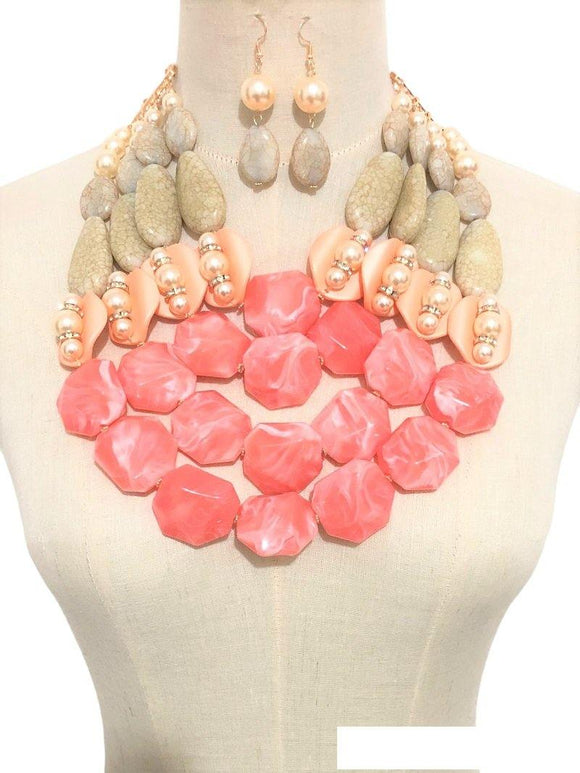 LARGE GOLD NECKLACE SET CORAL TAN STONES ( 3368 CORAL )
