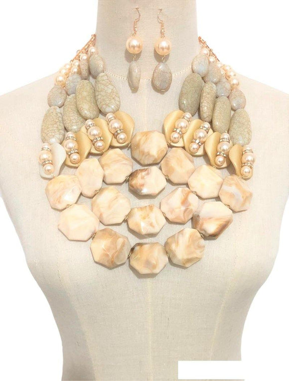 LARGE GOLD NECKLACE SET IVORY TAN STONES ( 3368 IV )