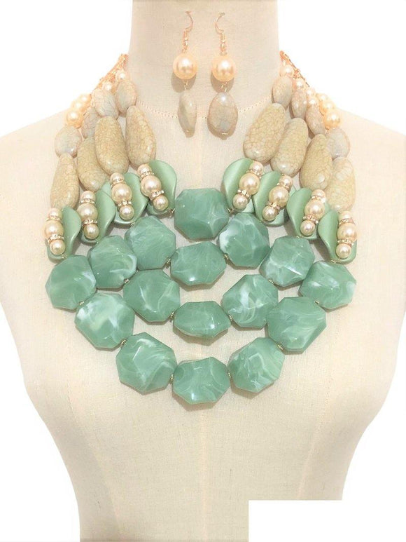LARGE GOLD NECKLACE SET JADE TAN STONES ( 3368 JADE )