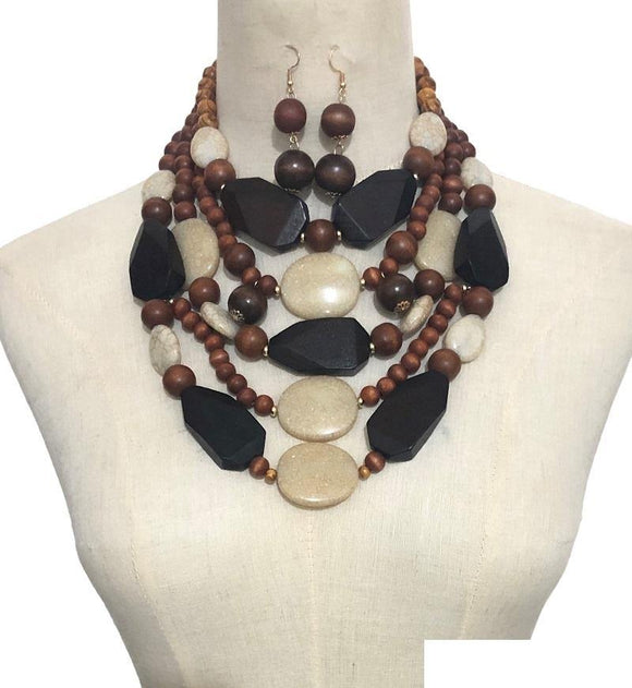 BROWN WOODEN NECKLACE SET ( 3372 WD )