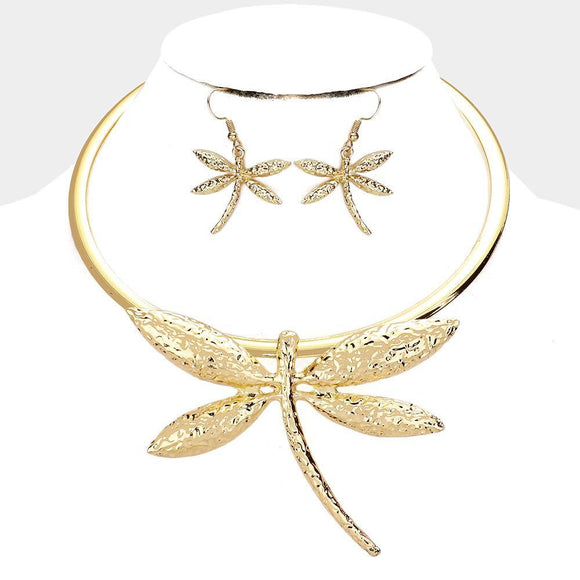 GOLD CHOKER NECKLACE SET DRAGONFLY ( 3702 S )