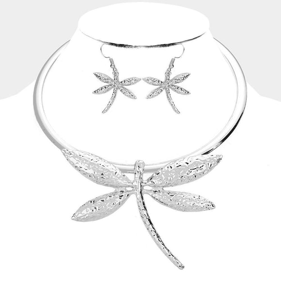 SILVER CHOKER NECKLACE SET DRAGONFLY ( 3702 S )