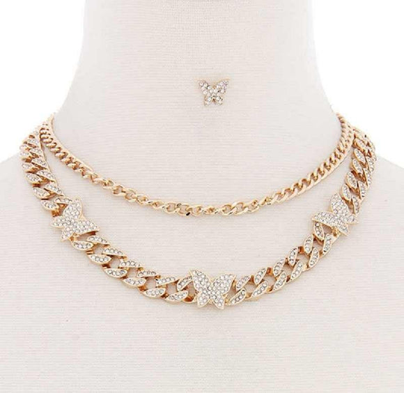 GOLD CHAIN NECKLACE SET BUTTERFLIES CLEAR STONES ( 1155 )