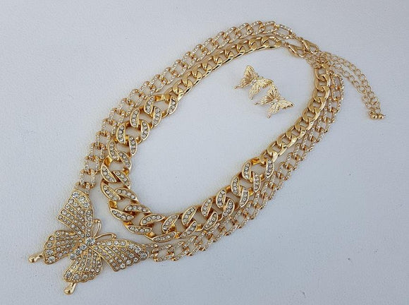 GOLD NECKLACE SET BUTTERFLY CLEAR STONES ( 1172 )