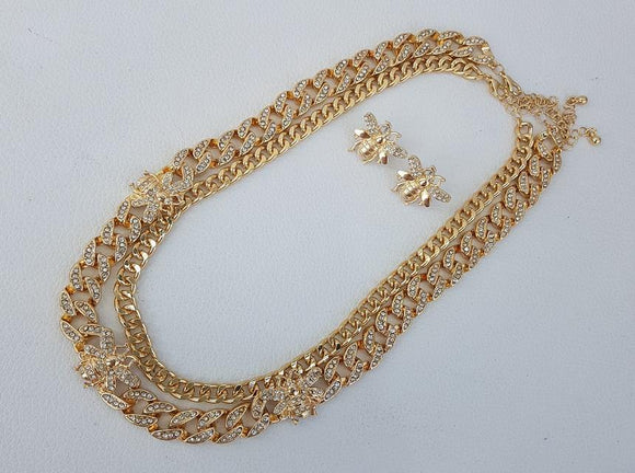 GOLD BEE NECKLACE SET ( 1173 ) - Ohmyjewelry.com