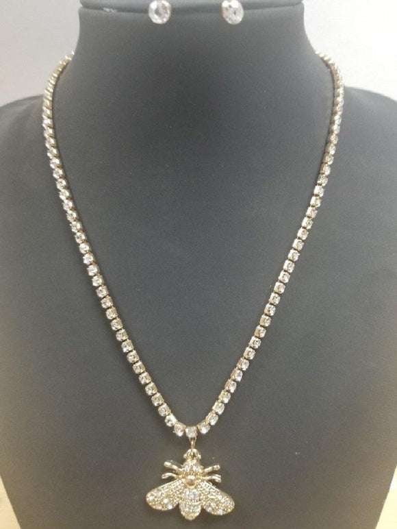 GOLD NECKLACE SET CLEAR STONES BEE ( 1190 ) - Ohmyjewelry.com