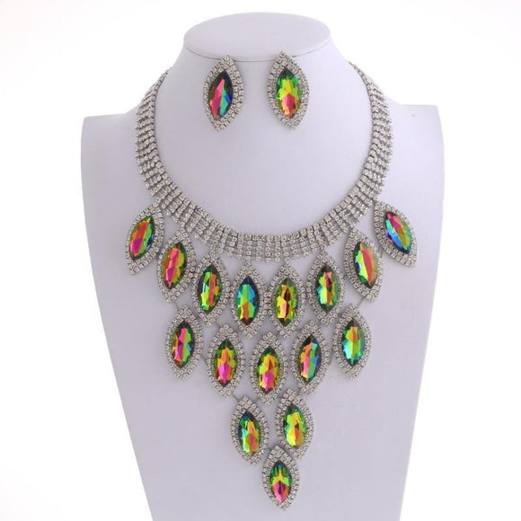 SILVER GREEN FUCHSIA AB MARQUISE PAVE STATEMENT NECKLACE WITH EARRINGS ( 9029 )