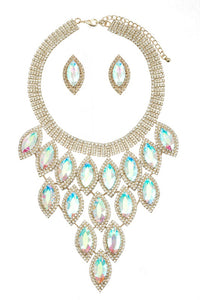 Gold and AB Marquise Pave Statement Necklace with Stud Earrings ( 9029 )