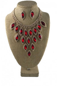 Gold and Red Marquise Pave Statement Necklace with Stud Earrings ( 9029 )