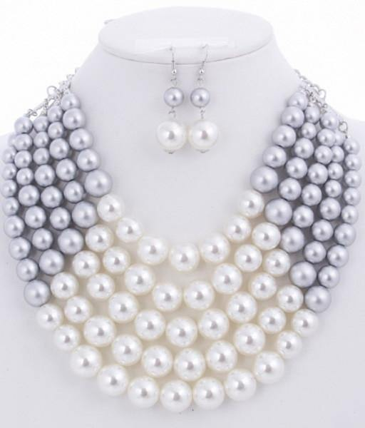 Silver and White 5 Layered Pearl Necklace with Matching Dangling Earrings ( 0175 WHTSIL )