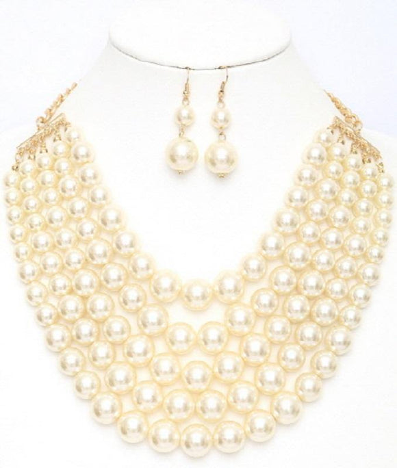 Cream 5 Layered Pearl Necklace with Matching Dangling Earrings ( 0175 CRM )