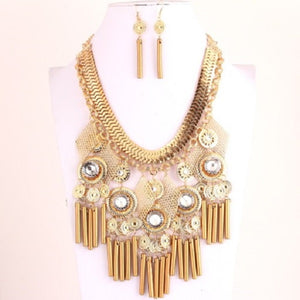 Gold Wooden and Light Metal on Herringbone Chain Statement Necklace Set
