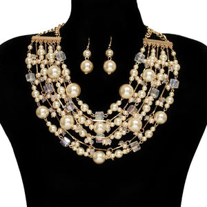 Cream Pearl and Crystal Multi Layered Necklace with Drop Earrings