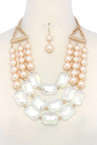 3 Layer Dark Cream Pearl and Clear Rectangle Fashion Statement Necklace Set ( 2159 )